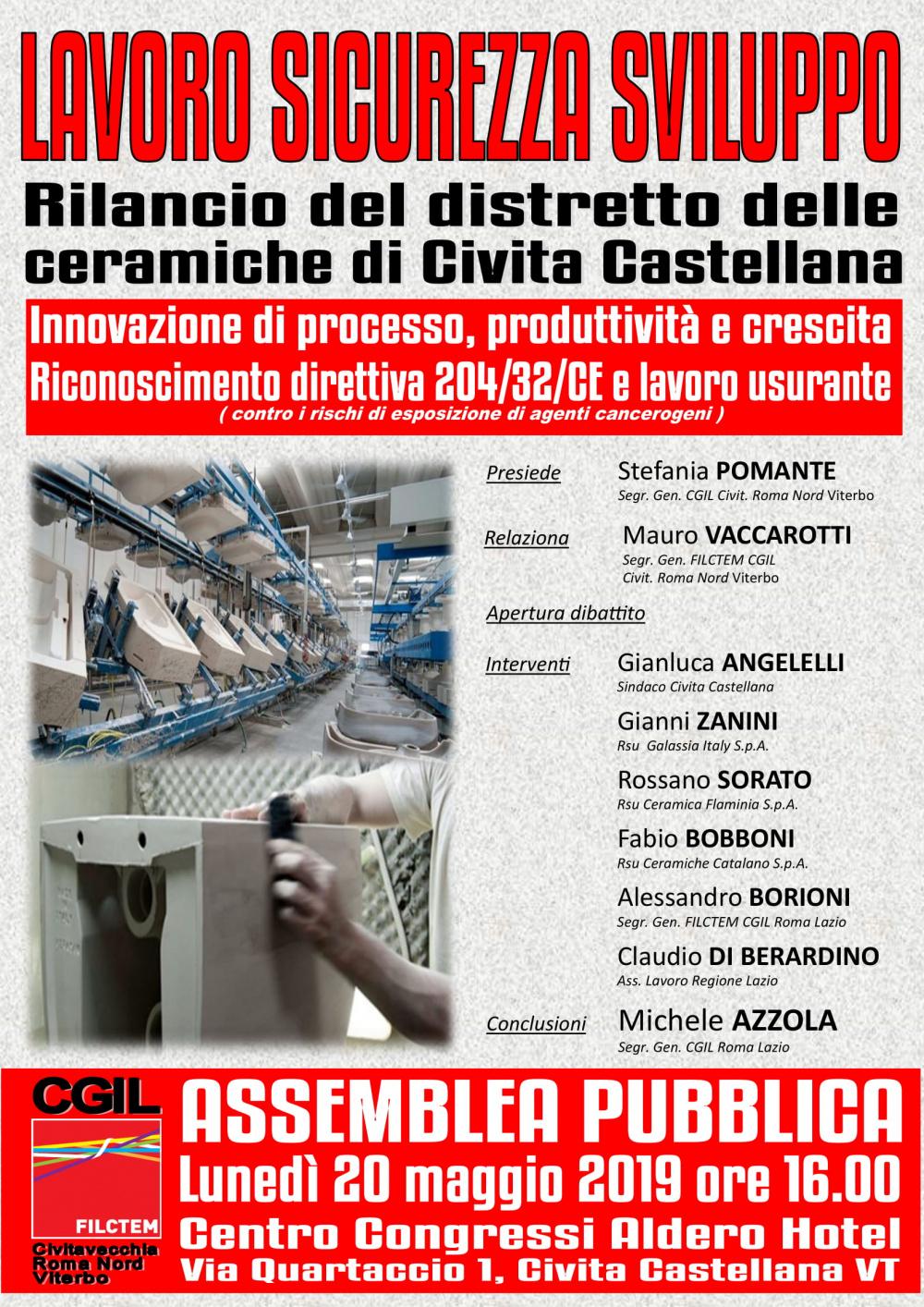 Centro Ceramiche Rossano.Civita Castellana Assemblea Pubblica Lavoro Sicurezza Sviluppo